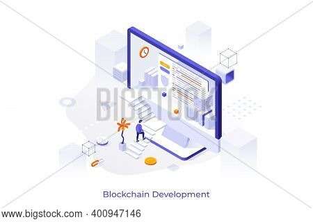 Concept With Giant Computer Display, Man Ascending Stairs And Bitcoin. Blockchain Or Cryptocurrency