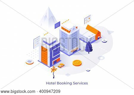 Conceptual Template With Hotel Buildings, Customers Reviews And Five Star Ratings. Internet Booking