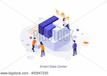 Conceptual Template With People Carrying Cubic Blocks Or Sitting On Them. Smart Data Center, Informa