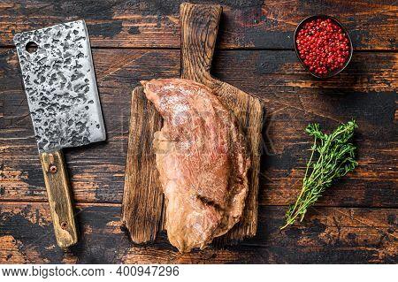 Marinated In Mustard Marinate Beef Tri Tip Steak For Bbq. Black Background. Top View