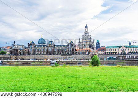 DRESDEN, GERMANY - July 23, 2017: Street view of Modern architecture in Dresden, Germany