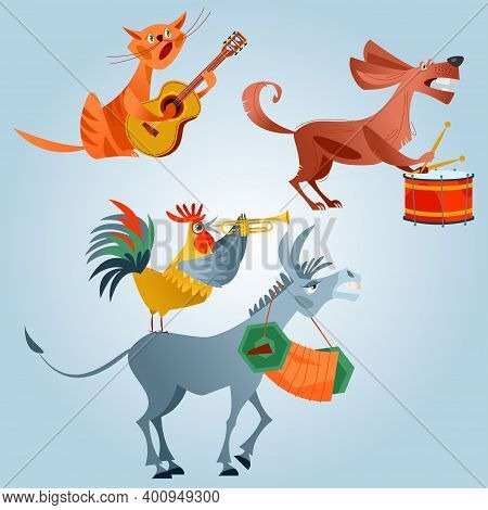 Animals Play Various Musical Instruments. A Rooster With A Pipe, A Dog With A Drum, A Cat With A Gui