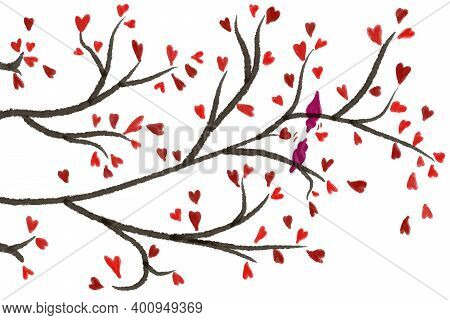 Flat Art. Tree Twigs With Love Hearts. Couple Birds Love. Illustration Valentine's Day. Abstract Bac