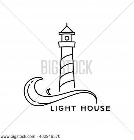 Lighthouse Line Art Style Logo Design. Simple Vector Design Outline Lighthouse Isolated On White Bac