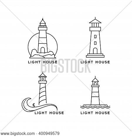 Lighthouse Line Art Style Logo Design. Simple Vector Design Lighthouse Collection Isolated On White