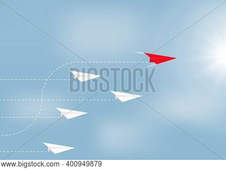 Paper Airplanes Flying With Red Airplane Changing Direction Ahead, Business Competition Leadership A