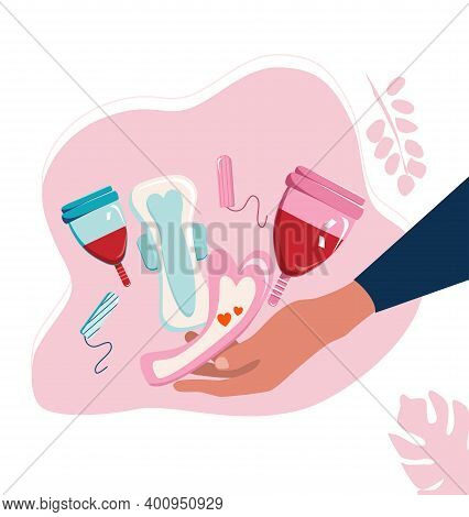 Hands Holding Sanitary Pads, Menstrual Cup With Blood And Tampons.periods Theme With Popular Hygieni
