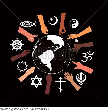 Religious Freedom Day Poster.human Solidarity.hands Different Ethnicities In Various Gestures And Sp