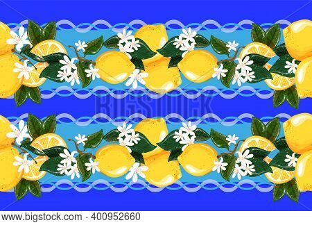 Tablecloth In Vector. Seamless Pattern With Lemons And White Flowers For Towels, Bed Linen And Table