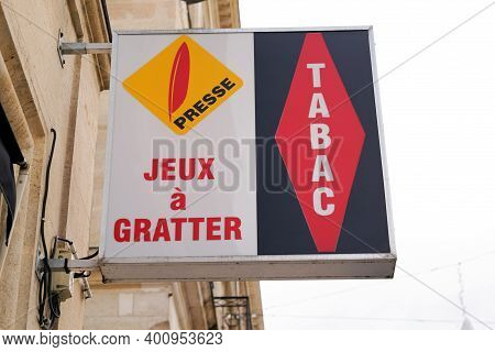 Bordeaux , Aquitaine  France - 12 15 2020 : Presse And Tabac Logo Of France National Lottery Company