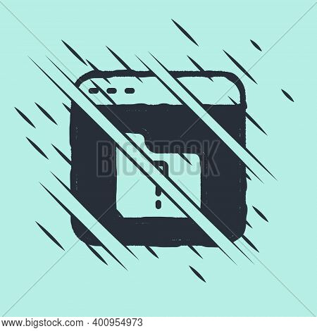 Black File Missing Icon Isolated On Green Background. Glitch Style. Vector