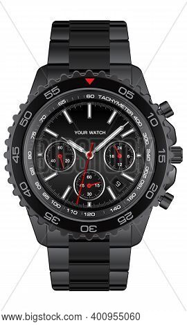 Realistic Black Steel Clock Watch Chronograph On White Background Design For Men Luxury Vector Illus