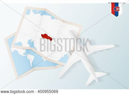 Travel To Slovakia, Top View Airplane With Map And Flag Of Slovakia. Travel And Tourism Banner Desig
