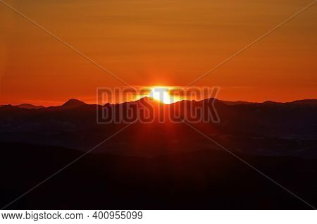 A View On Sunset From Smrk In Beskydy Mountains.
