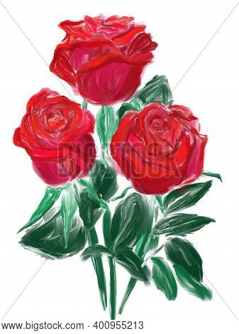 Three Red Roses. Hand Drawn Digital Illustration Like As Oil Painting Isolated On White Background.
