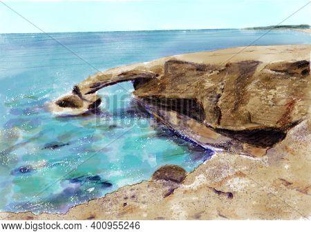 Love Bridge In Ayia Napa, Cyprus. Romantic Place On The Coast Of Mediterranean Sea. Hand Drawn Illus
