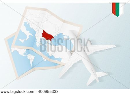 Travel To Bulgaria, Top View Airplane With Map And Flag Of Bulgaria. Travel And Tourism Banner Desig
