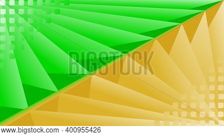 Abstract Background With Triangular Shape Depicting 3 Dimensions. The Background With Green And Gold