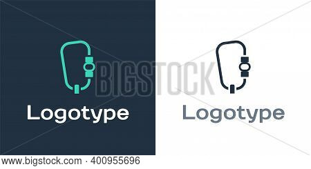 Logotype Carabiner Icon Isolated On White Background. Extreme Sport. Sport Equipment. Logo Design Te