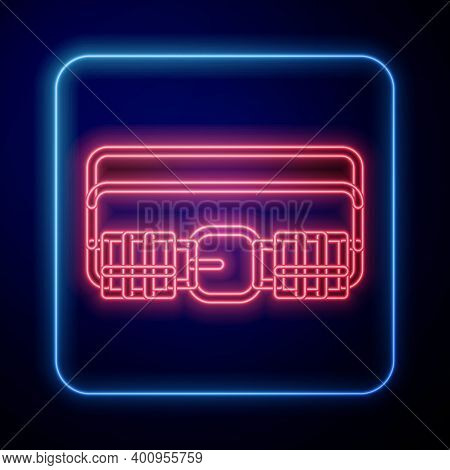 Glowing Neon Hunting Cartridge Belt With Cartridges Icon Isolated On Blue Background. Bandolier Sign