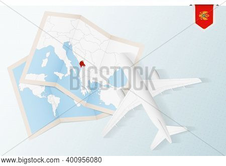 Travel To Montenegro, Top View Airplane With Map And Flag Of Montenegro. Travel And Tourism Banner D