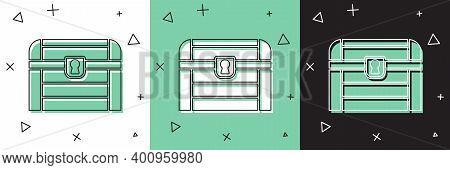 Set Antique Treasure Chest Icon Isolated On White And Green, Black Background. Vintage Wooden Chest