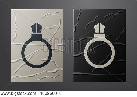 White Fantasy Magic Stone Ring With Gem Icon Isolated On Crumpled Paper Background. Paper Art Style.