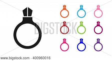 Black Fantasy Magic Stone Ring With Gem Icon Isolated On White Background. Set Icons Colorful. Vecto