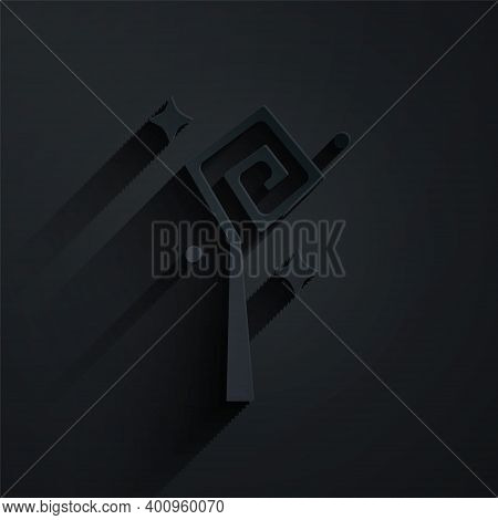 Paper Cut Magic Staff Icon Isolated On Black Background. Magic Wand, Scepter, Stick, Rod. Paper Art