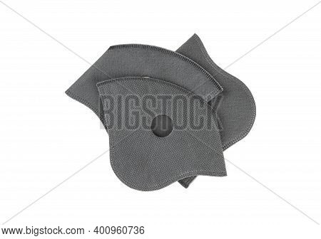 Active Carbon Filters For Anti-pollution Washable Cycling Face Mask Isolated On White Background.