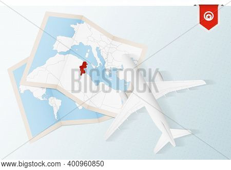 Travel To Tunisia, Top View Airplane With Map And Flag Of Tunisia.