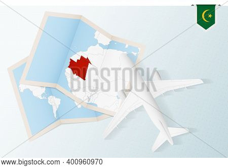 Travel To Mauritania, Top View Airplane With Map And Flag Of Mauritania.
