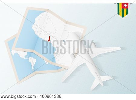 Travel To Togo, Top View Airplane With Map And Flag Of Togo.