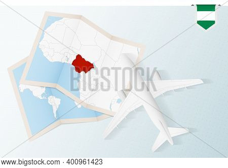 Travel To Nigeria, Top View Airplane With Map And Flag Of Nigeria.