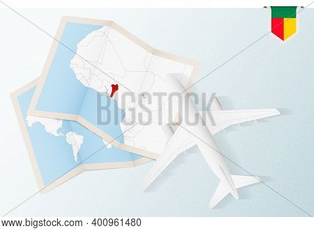 Travel To Benin, Top View Airplane With Map And Flag Of Benin.