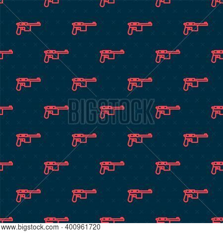 Red Line Mauser Gun Icon Isolated Seamless Pattern On Black Background. Mauser C96 Is A Semi-automat