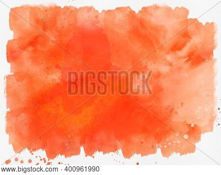 Abstract Orange Watercolor Background. Watercolor Splash, Illustration Isolated On White Background.