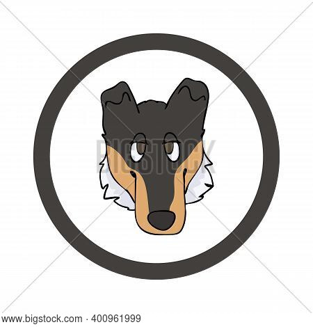 Cute Cartoon Smooth Collie Face In Circle Dog Vector Clipart. Pedigree Kennel Doggie Breed For Kenne