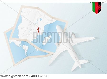 Travel To Malawi, Top View Airplane With Map And Flag Of Malawi.