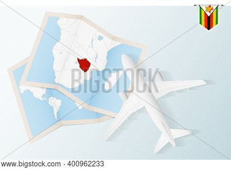 Travel To Zimbabwe, Top View Airplane With Map And Flag Of Zimbabwe.