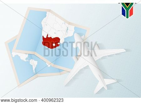 Travel To South Africa, Top View Airplane With Map And Flag Of South Africa.