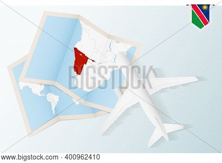 Travel To Namibia, Top View Airplane With Map And Flag Of Namibia.