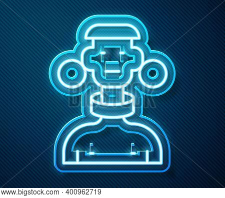 Glowing Neon Line African Tribe Male Icon Isolated On Blue Background. Vector