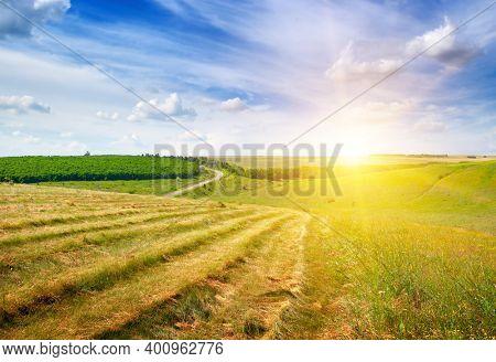 Magnificent bright sunrise over a farm field.