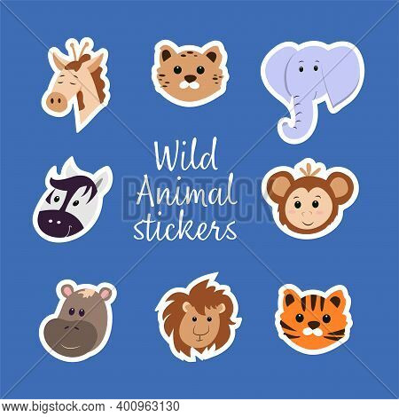Collection Of Stickers With Wild Animals - Faces Of Elephant, Giraffe, Cheetah, Zebra, Monkey, Hippo
