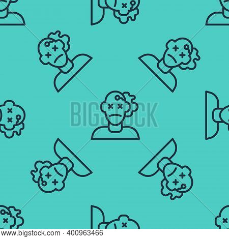 Black Line Murder Icon Isolated Seamless Pattern On Green Background. Body, Bleeding, Corpse, Bleedi