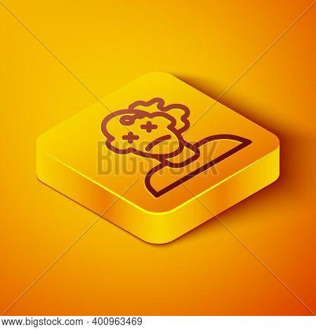Isometric Line Murder Icon Isolated On Orange Background. Body, Bleeding, Corpse, Bleeding Icon. Con