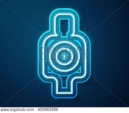 Glowing Neon Line Human Target Sport For Shooting Icon Isolated On Blue Background. Clean Target Wit