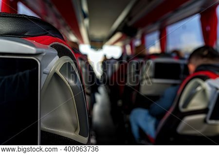 Close Up Of Touristic Bus Seats During Excursion