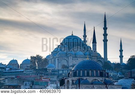 Istanbul, Turkey - 9 December 2020: Fatih Camii Or Conquerors Mosque City View